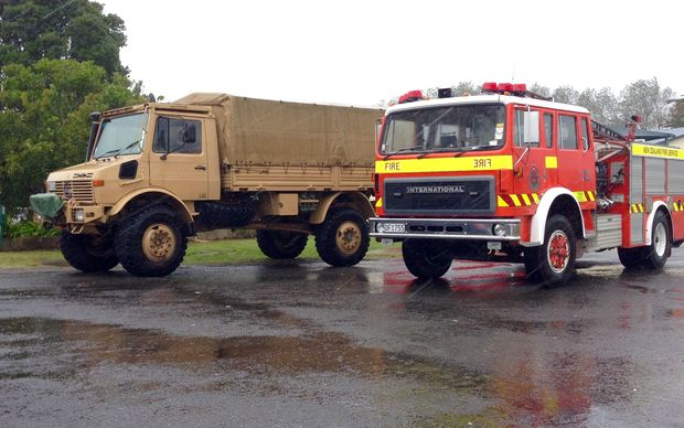 Army and Fire Service trucks at Tolaga Bay Primary School.