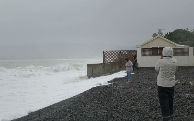 Locals say during a bad storm the waves go over the top of this house in Haumoana