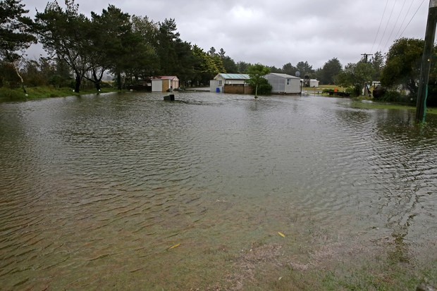 Tolaga Bay Holiday Park underwater due to a blocked culvert pipe