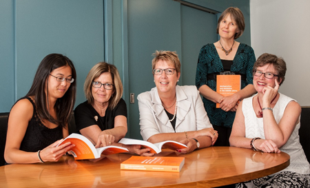 Dr Robin Averill (far right) with (from right) Wellington Girls' College principal Julia Davidson and mathematics department leaders Margaret Priest, Karen Chow and (standing) Frances Hinchliffe.