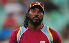Chris Gayle during the West Indies loss to South Africa, 2015.