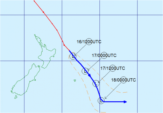 The historical track of Cyclone Pam (red line) and its forecast track (blue line) with forecast positions marked as circled L's in universal coordinated time.
