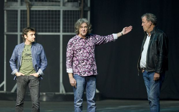 Richard Hammond, James May and Jeremy Clarkson during a Top Gear show in Belgium in 2013.