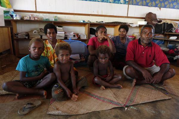 Fresh Wota's Ralph and Mary Yalu and family. There home was destroyed by cyclone Pam, and their local school is also gone.