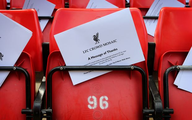 A white card forms part of a message of thanks to the Everton fans for their part in the Hillsborough campaign. Liverpool, 2013.