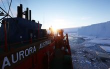 Icebreaker Auroira Australis at the edge of the Totten Glacier in East Antarctica.