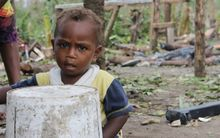 Creg, 1 year, Taunono community on the outskirts of Port Vila. He is one of up to 60,000 children affected by the Super Cyclone Pam.