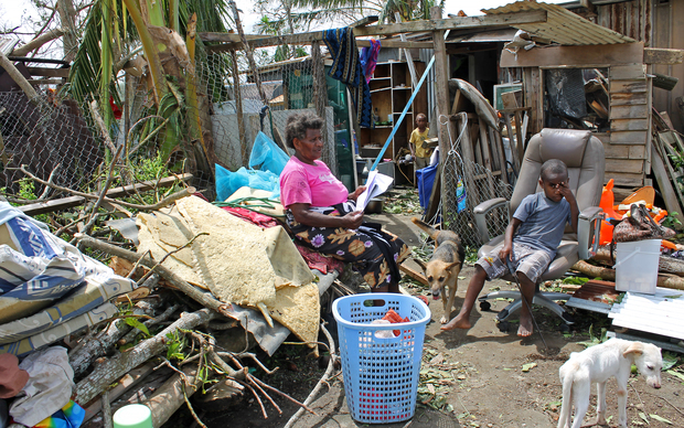 Family in Nikinini community (mother Josephine, and children Angelica (12), Jacquie (9), Jessica (1) and Bojel (8). They have lost everything beacuse of Super Cyclone Pam. The cyclone has affected 60,000 children