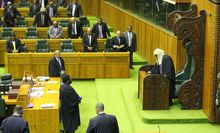 A view of the government benches in Papua New Guinea's parliament.