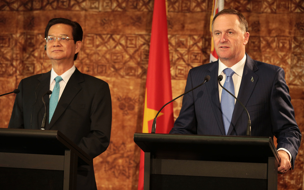 Press conference of Vietnamese Prime Minister Nguyen Tan Dun and John Key.