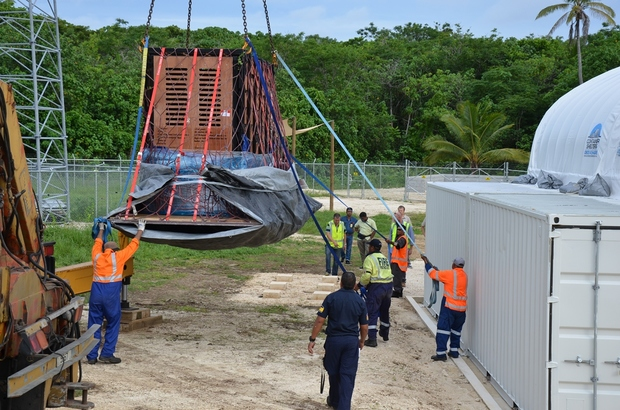 Elephant Anjalee lifted into quarantine facility in Niue