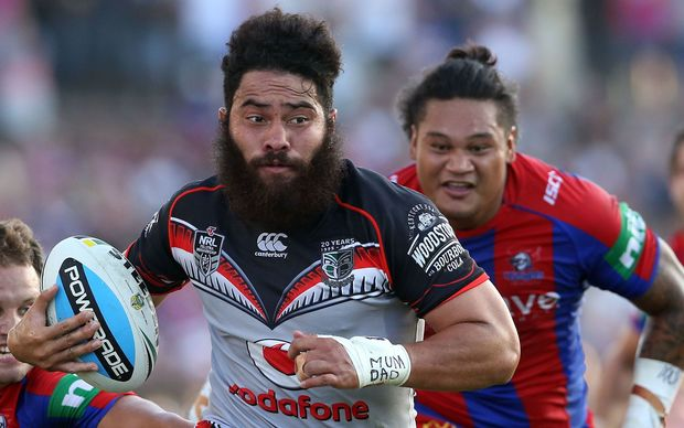 The Warriors centre Konrad Hurrell in action.