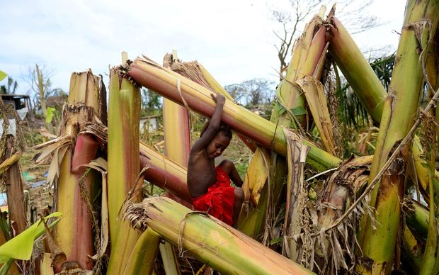 A young boy plays amongst a destroyed banana plantation in Mele, outside the Vanuatu capital of Port Vila.