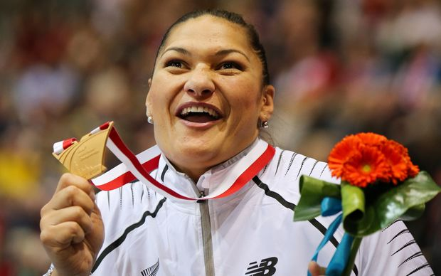 New Zealand shot putter Valerie Adams with the gold medal at the 2014 IAAF World Indoor Championships in Poland.