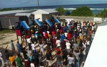 Protesting refugees at the asylum seeker processing centre on Nauru.