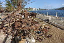 Damage at the harbour in Port Vila, Vanuatu, after Cyclone Pam.