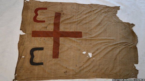 The Maori war flag that was confiscated by the Crown currently held at Hawick Museum in Scotland.