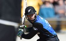 Martin Guptill all concentration on the way to his second century of the World Cup