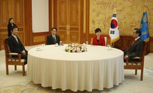 outh Korean Foreign Minister Yun Byung-se, Japan's Fumio Kishida, South Korea President Park Geun-hye and Chinese Foreign Minister Wang Yi met at the presidency in Seoul