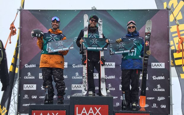 Jossi Wells on top of the podium at the Euro Freeski Open