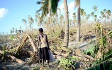 A woman carries bananas found amid the destruction caused by Cyclone Pam.