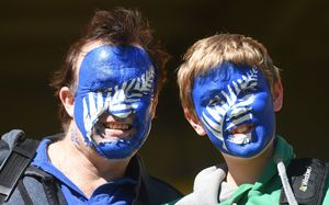 Fans at the Black Caps quarter final against the West Indies in Wellington on Saturday.