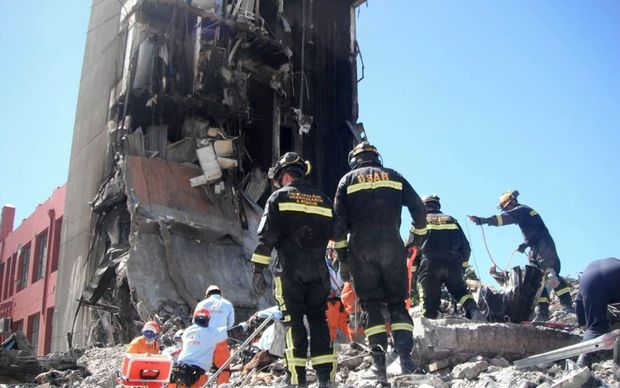 Search and rescue teams at the site of the  collapsed CTV building in February 2011.