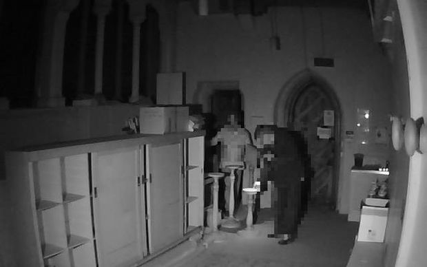 Security camera footage from Christ Church Cathedral on 21 March 2015.