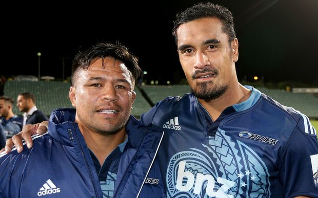 Veteran Blues players Keven Mealamu and Jerome Kaino, 2015.