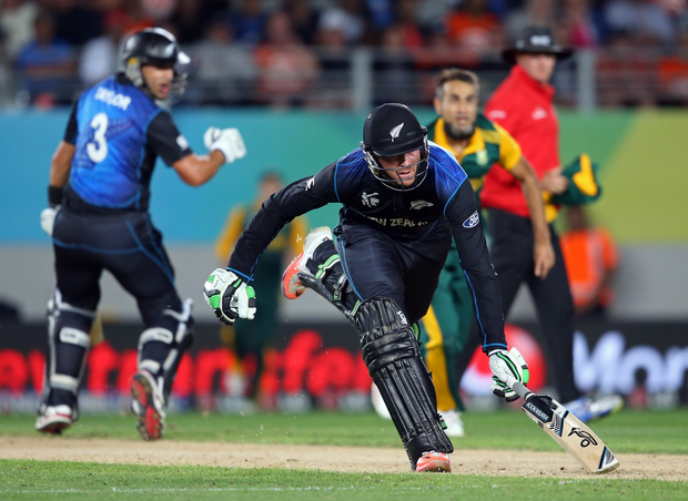 New Zealand's Martin Guptill is run out for 34 runs.