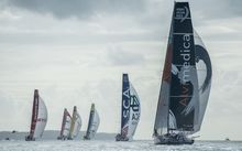 The Volvo Ocean Race fleet head out of the Hauraki Gulf at Auckland bound for Itajai, Brazil.