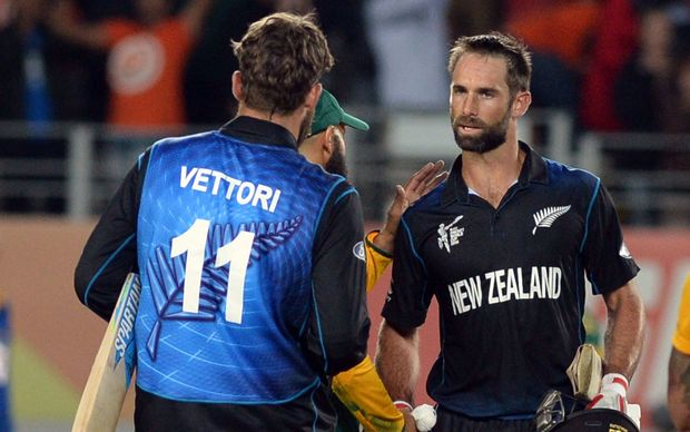 The New Zealand pair Daniel Vettori and Grant Elliott celebrate their victory during the World Cup Semifinal.