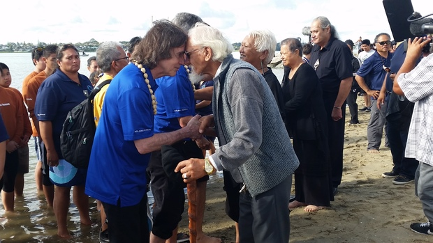 Education leaders on two Hawaiian sailing waka welcomed.