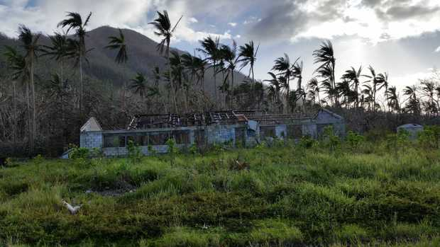 Shell-shock - Cyclone Pam didn't leave much on the roof of this school on Erromango Island.