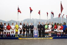 Captains of the 16 sides competing in the Sevens World Series event in Hong Kong.