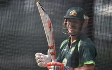Australian batsman David Warner in the nets at the SCG.