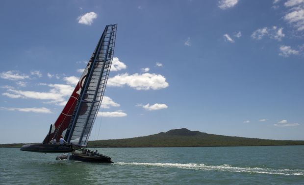 Oracle's AC45 out for a test sail in the Waitamata harbour in 2011.