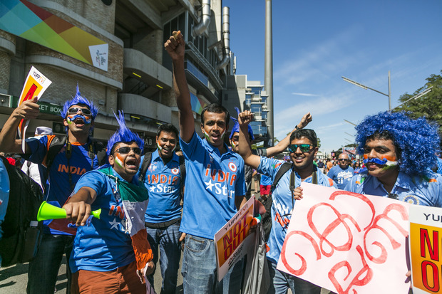 Some of the 'Swami Army' supporting the Indian team against Australia