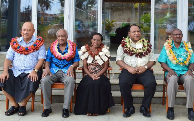 Left to Right: Fiji foreign minister, Ratu Inoke Kubuabola; Vanuatu foreign minister, Sato Kilman Livtunvanu; MSG Foreign Ministers Meeting Chairlady, Madam Caroline Machoro-Reignier; PNG foreign minister, Rimbink Pato; and Solomon Islands foreign minister, Milner Tozaka.
