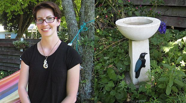 Josie Galbraith, and a bird bath in one of the study gardens, which offers birds a regular water supply.