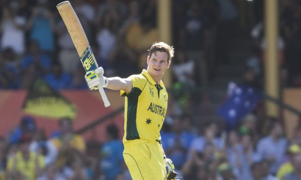 Australia batsman Steve Smith celebrates hitting a century.
