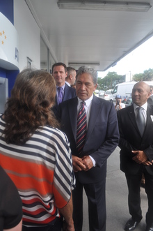 Winston Peters campaigning on the streets of Kerikeri on the final day of the Northland by-election.
