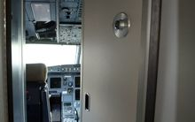 A close-up of an armoured security door to an Airbus cockpit (file photo).
