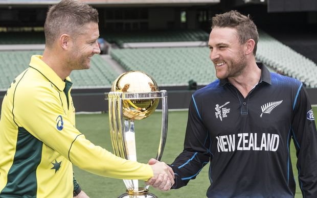 Michael Clarke and Brendon McCullum pose with the silverware.