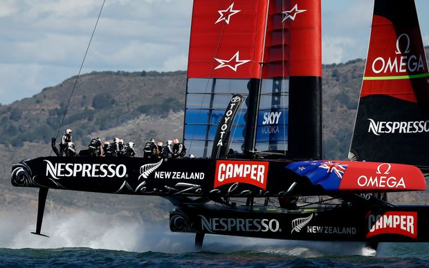 Team New Zealand about to start the final race of the 2013 America's Cup.