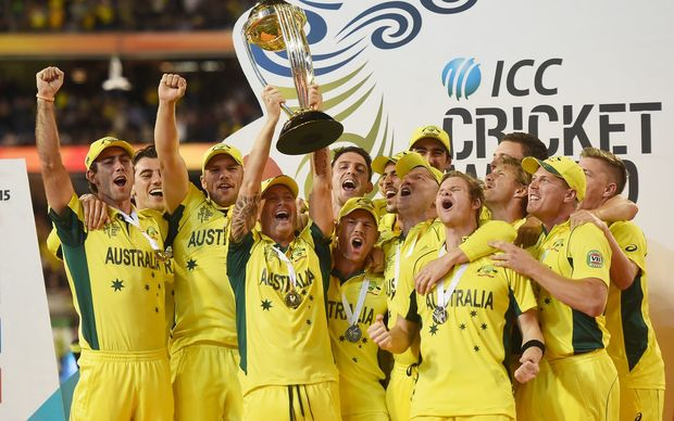 Australia celebrate winning the ICC Cricket World Cup Final.