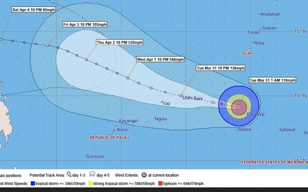 Tracking Map for Typhoon Maysak in the FSM