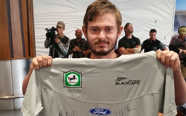 Black Caps fan Taylor says he wants autographs covering this t-shirt