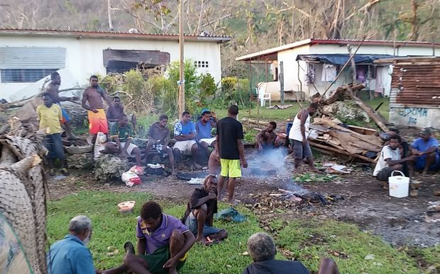 Farmers from Teoma Bush in Vanuatu taking refuge at the St Joseph evacuation centre.