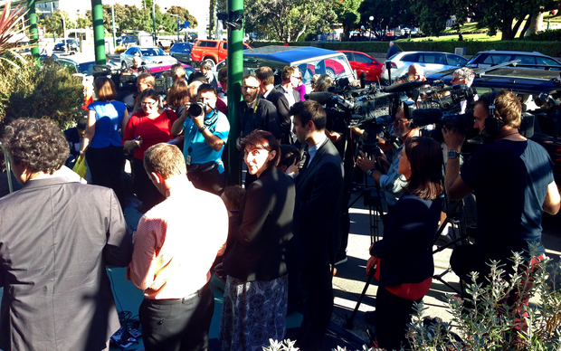 Media waiting outside the High Court after the second High Court verdict.  Photo / Alexander Robertson